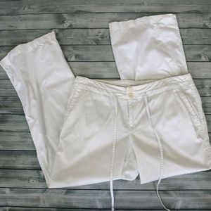 Ann Taylor Loft White Cotton Lightweight Capris 6P